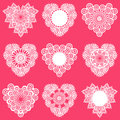 Set of lace hearts for design and scrapbook in Royalty Free Stock Image