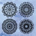Set of lace ornaments on watercolor background four decorative Royalty Free Stock Photo