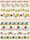 Set of lace paper with flower and leafs vector Stock Photos