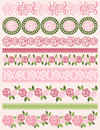 Set of lace paper with roses vector illustration Royalty Free Stock Images