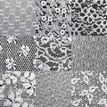 Set lace textures different white Royalty Free Stock Photos