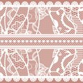 Set of lacy vintage trims. Royalty Free Stock Photography