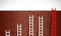 Set of ladders and brick wall illustration design graphic Stock Photo