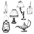 Set of lamps yand drawn graphic illustrations Stock Photography
