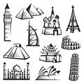 Set of landmarks Royalty Free Stock Photos