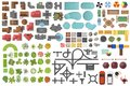 Set Landscape elements, top view. House, garden, tree, lake, swimming pools, bench, road, cars, people. Landscaping symbols set Royalty Free Stock Photo
