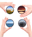 Set of landscapes throw camera filter isolated on a white background Royalty Free Stock Photography