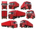 Set large red truck with a semitrailer. Template for placing graphics. 3d rendering. Royalty Free Stock Photo
