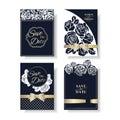 Set of Laser Cut rose shape Wedding Invitation Card. Navy Blue Rose Concept.