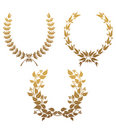 Set of laurel wreaths Stock Photo