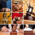 Set of law wooden gavel and Royalty Free Stock Image
