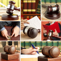 Set of law wooden gavel and Stock Images