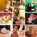 Set of law wooden gavel and Stock Photography