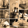 Set of law wooden gavel and Royalty Free Stock Photos