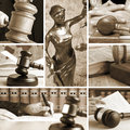 Set of law wooden gavel and sepia Stock Photography