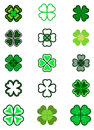 Set leaf clover. Four leaf, silhouettes, stylized in green color