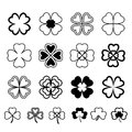 Set leaf clover. Three and Four leaf, silhouettes, stylized. St.