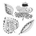 Set of leaf doodle pattern automn design stock illustration Stock Photo