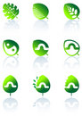 Set of leaves icon Stock Photography