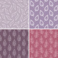Set of leaves seamless patterns Royalty Free Stock Photos