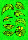 Set of leaves. Stained glass style. Stock Images