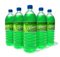 Set of lemon drinks in plastic bottles Royalty Free Stock Images