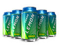 Set of lemon soda drinks in metal cans Royalty Free Stock Images