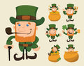 Set of leprechaun characters poses eps vector format Royalty Free Stock Photography