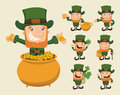 Set of leprechaun characters poses eps vector format Stock Photos