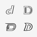 The set of letter D sign, logo, icon design template elements. Royalty Free Stock Photo