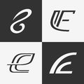The set of letter E sign, logo, icon design template elements. Royalty Free Stock Photo