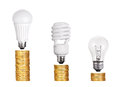 Set of Light Bulb LED  CFL Fluorescent  isolated on white Royalty Free Stock Photo