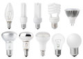 Set of light bulbs isolated on white Stock Photography