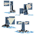 Set of lighthouse icons simple vector stylized with rays light and waves Royalty Free Stock Photo