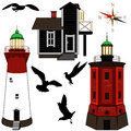 Set of lighthouses vector on white backgrond Stock Photo