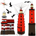 Set of lighthouses vector on white backgrond Royalty Free Stock Photos