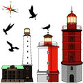 Set of lighthouses vector on white background Stock Images