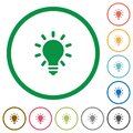 Lighting bulb outlined flat icons
