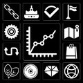 Set of Line Chart, World, Diamond, Compact disc, Leaf, Paper bag, Double arrow, Map, Cogwheel, editable icon pack Royalty Free Stock Photo