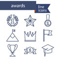 Set of line icons for award success and victory