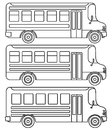 Set of line icons school buses. Royalty Free Stock Photo