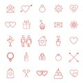 Set of line icons for Valentine day or wedding