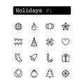 Set line icons. Vector. Holiday Royalty Free Stock Photo