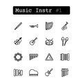 Set line icons. Vector. Musical instruments Royalty Free Stock Photo
