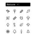Set line icons. Vector. Nature, plants Royalty Free Stock Photo