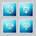 Set line Moon, Aries zodiac, Dog and icon. Vector Royalty Free Stock Photo