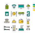 Set linear hotel service colored icons Royalty Free Stock Photo
