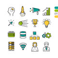 Set linear SEO colored icons