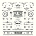 Set of linear thin line art deco retro vintage design elements