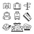 Set linear travel vector pictogram for website icons Royalty Free Stock Photo